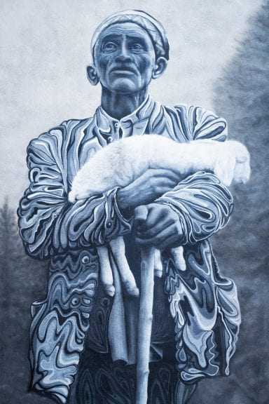 man carrying white lamb painting