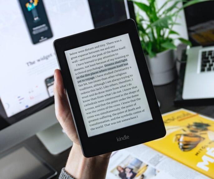 turned-on Kindle tablet